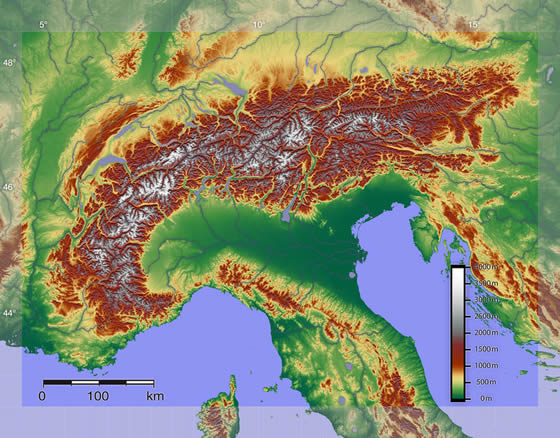 Map of Europe Alps Alps Mountain Range Map