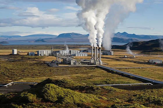 Steam rising from a geothermal power plant in Iceland -- Gretar ...