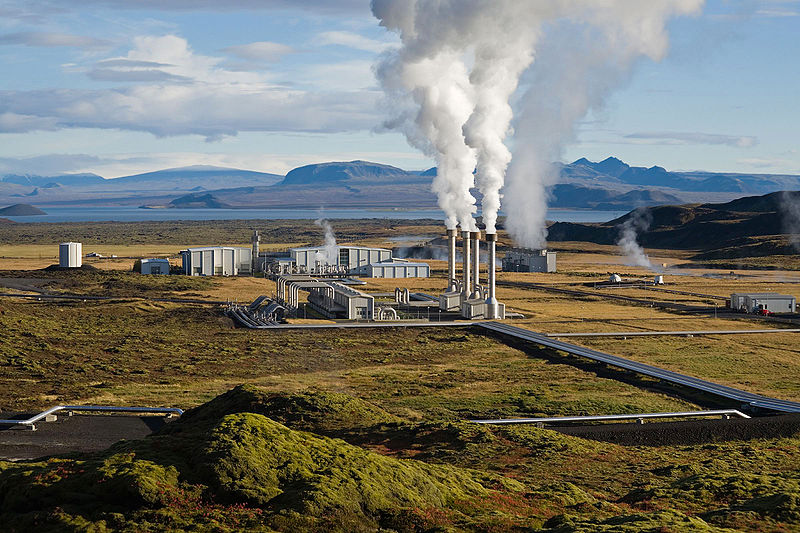 Geothermal power plant produces energy north of Reykjavik