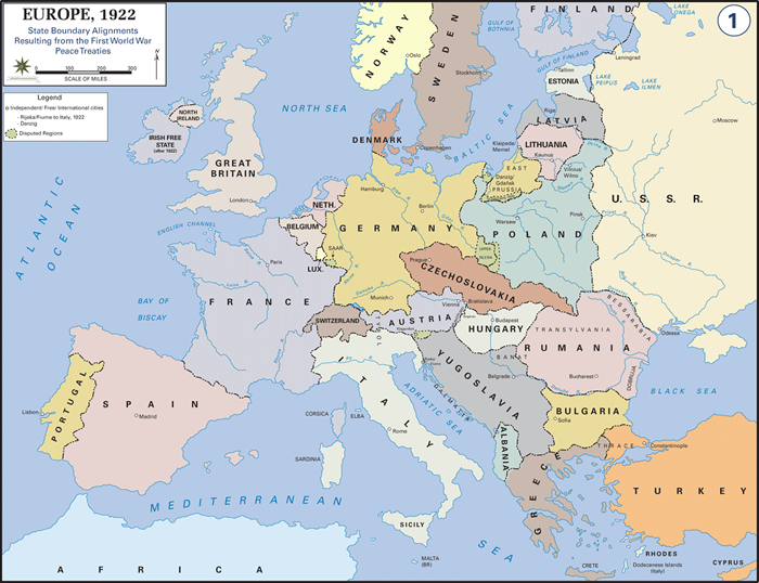 Consequences of world war i map of europe after world war i sciox Image collections